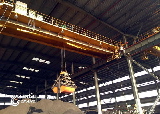 Cement Industry Heavy Duty Grab Overhead Crane 50 Ton QZ Type 7.5-32 M Span